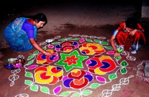 Rangoli made at every home (Image Courtesy Hubpages)